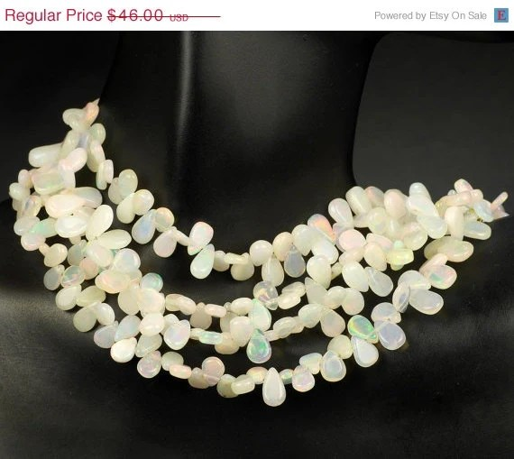 ON SALE Australian Opal Briolettes, Smooth White Opals  - 1/2 Strand - 28 Beads - 6x4 to 8x4mm - rocksamillion