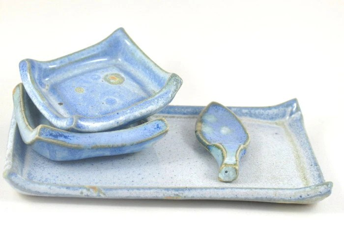 Blue Tapas and Condiment Dish on Tray Serving Set Stoneware Ceramics - DeeDeeDeesigns
