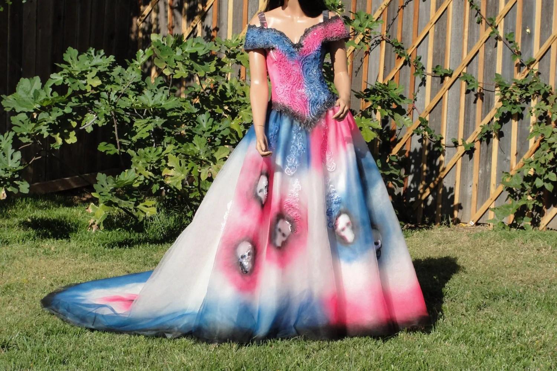 Large Size 12 Hand Painted Skeleton Wedding Dress Dia De Los