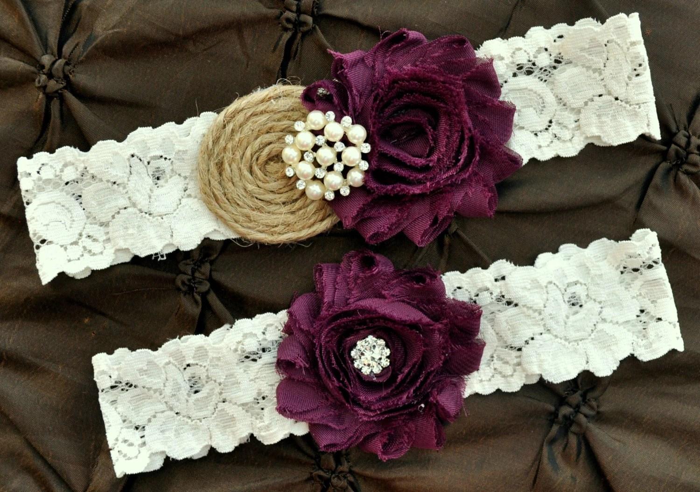 Burlap Rustic Wedding Garter Set Bridal By HayesStreetBridal