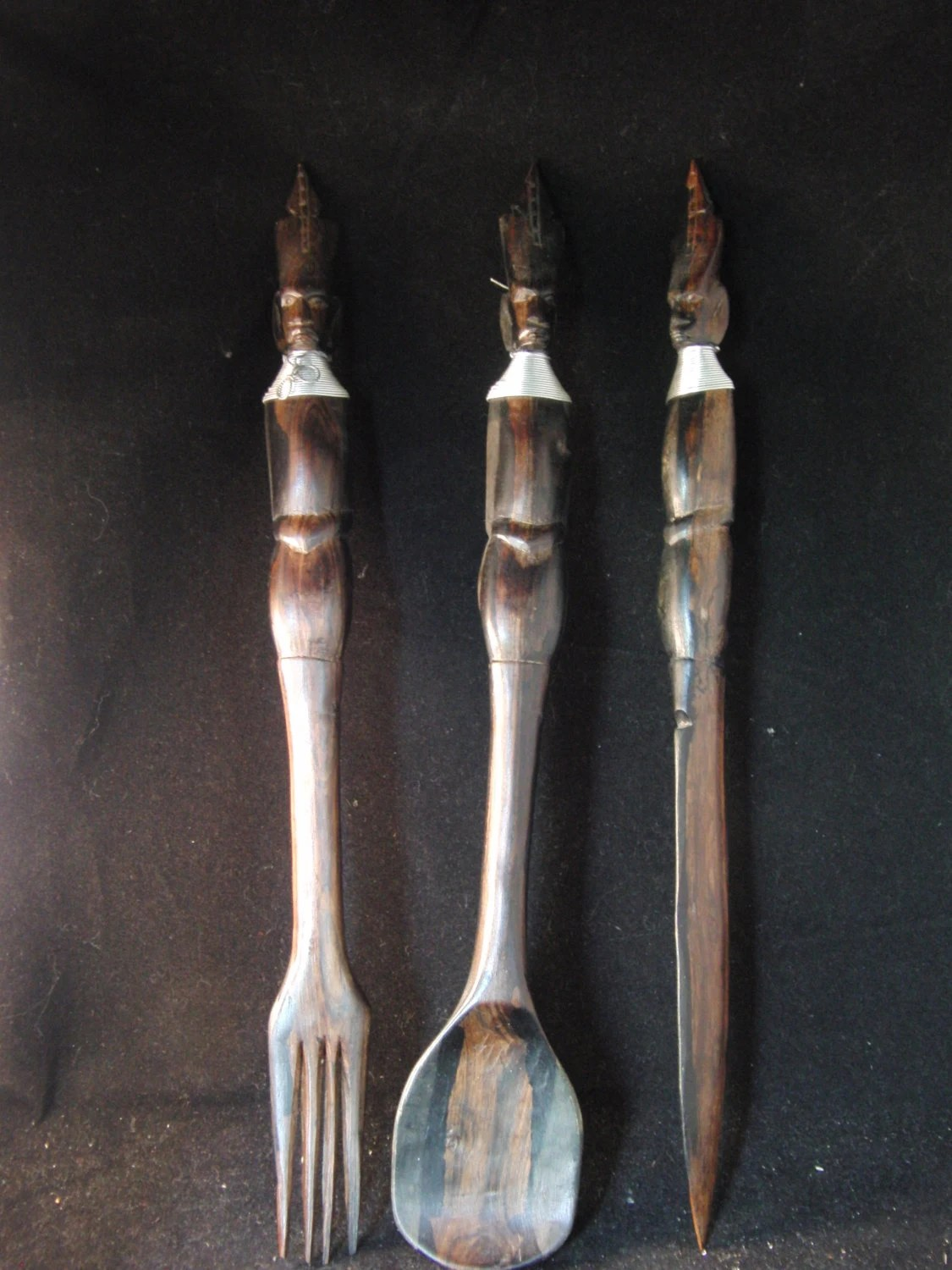 Vintage Large Carved Wooden Spoon Fork And Knife Haute