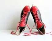 Soviet Vintage Ice Hockey Skates, Black and Red Shoes, Sport Shoes, Leather Skates, Retro Footwear, Russian Design, USSR era 1970s - LittleRetronome