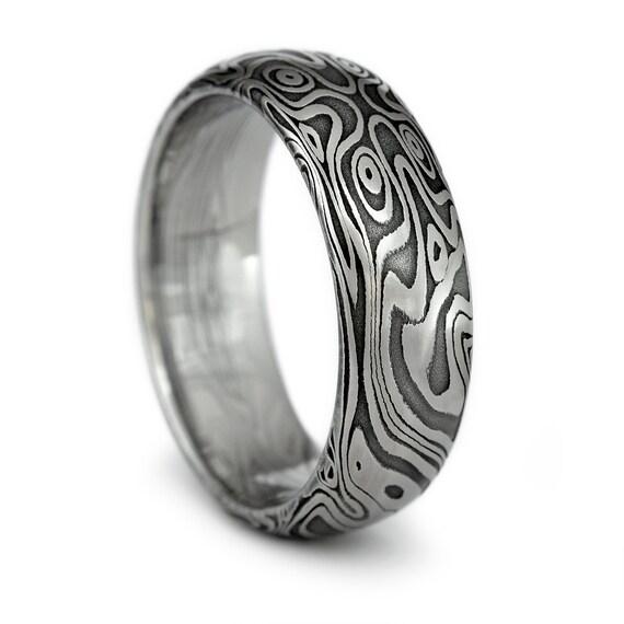 Wood Grain Ring Damascus Steel Mens Domed Wedding Band