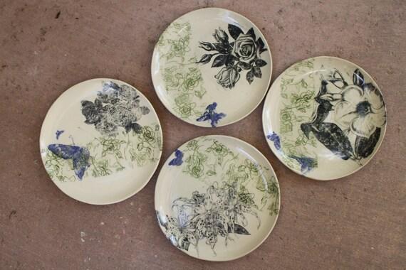 Flower And Butterflies Dinner Plate Set Of 4 Ceramic Roses