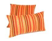 "EMBROIDERED LINEN- MULTICOLOR Stripes Lumbar Pillow cover-Throw pillow-Decorative pillow--Accent pillow-Handmade 12""x 20""100% cotton.."