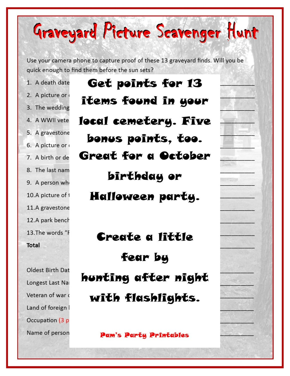Printable Graveyard Scavenger Hunt Instant Download Party