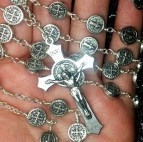 Deliver Us From Evil St Benedict Medal  Huge Mens 5 decade Rosary  Exorcism  Gothic Silver plate