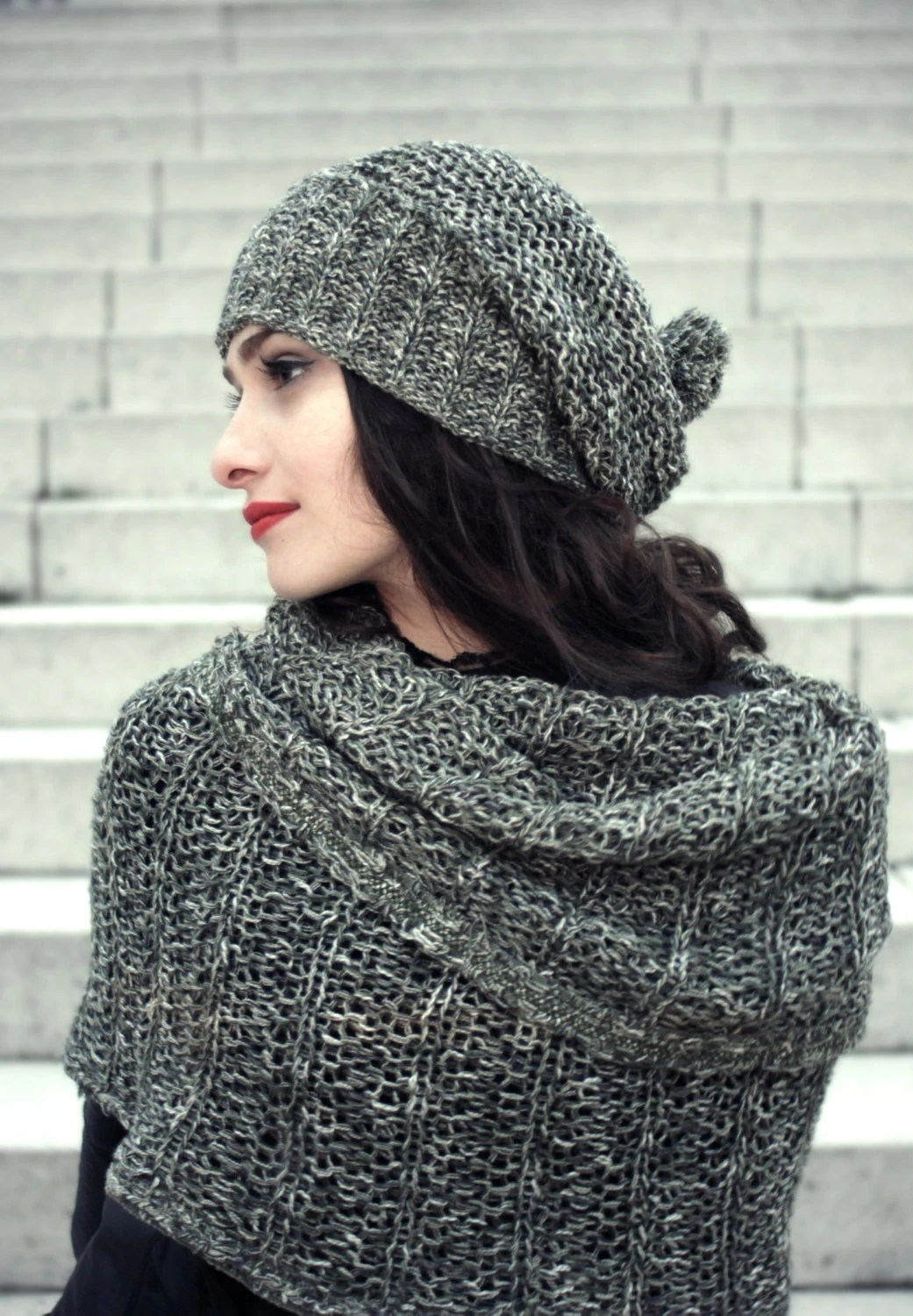 knit slouchy hat / november trend / woman winter hat / grey green / olive / warm hat / womens knit hats - BonniesCinematheque