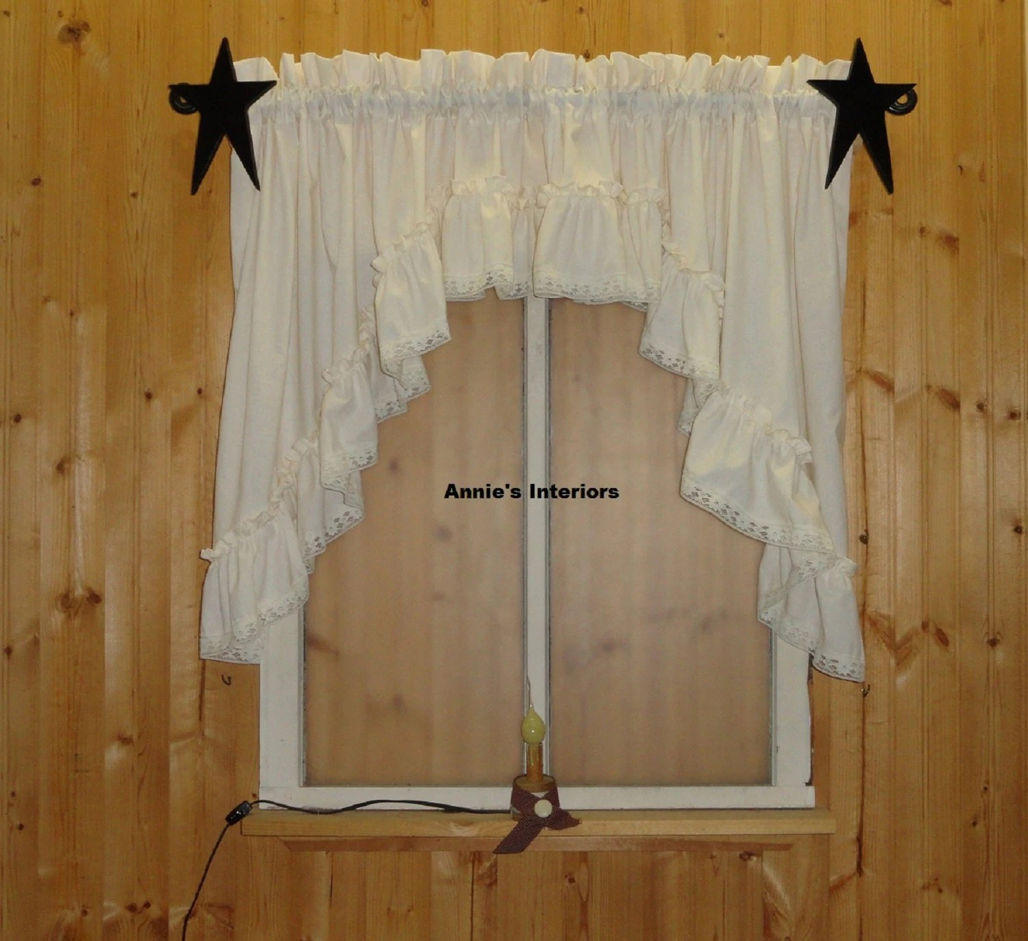 Country Primitive Ruffled Swag Valance 82 By