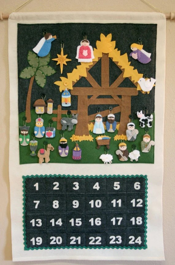 Nativity Advent Calendar • 24 Ornaments • Hand Made • Made to Order •