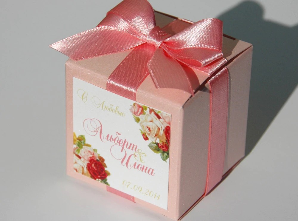 Blush Weddings Favor Candy Gift Box With Satin Ribbon Bow