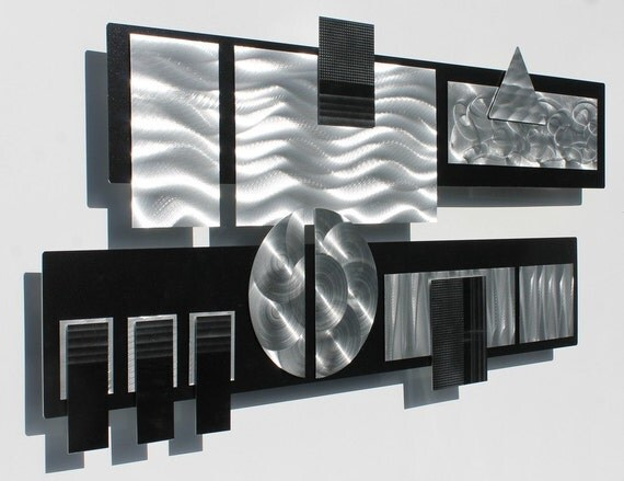 Black & Silver Modern Metal Wall Sculpture Silver