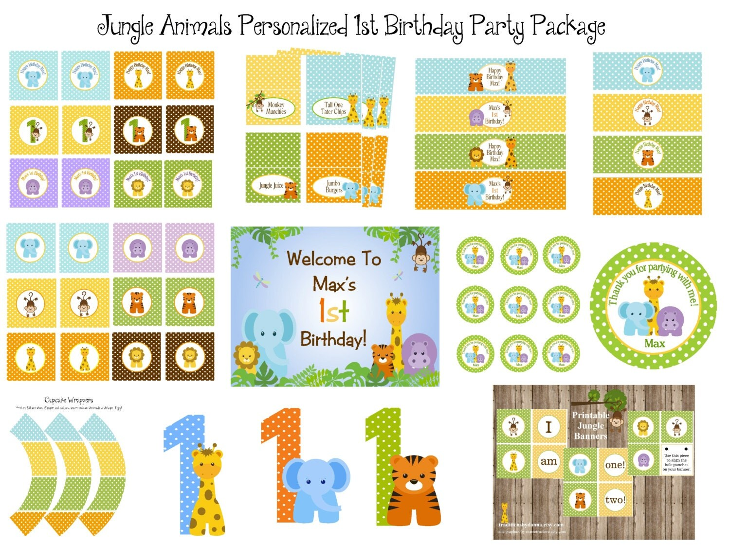 Baby Jungle Animals 1st Birthday Or Baby Shower Printable