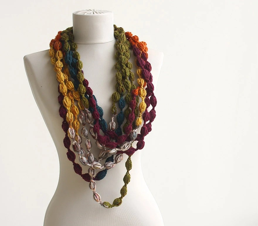 Infinity  scarf crochet purple green yellow orange - violasboutique