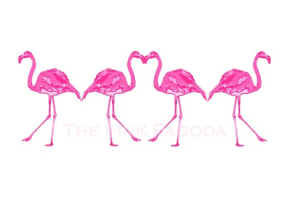 Palm Beach Chic Hot Pink FourFlamingos Giclee 13x19