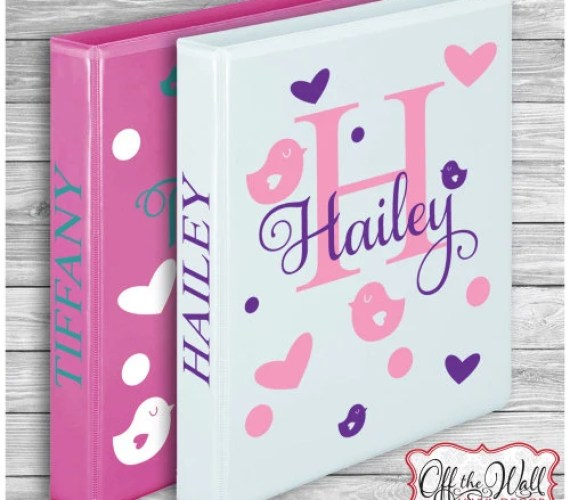 Handmade Back to School Supplies - Personalized Name Decal DIY for School Binders, Folders, Notebook, Scrapbook for girls from Off the Wall Vinyl Decor