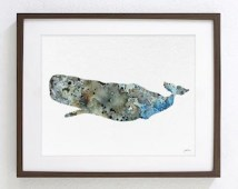 Sperm Whale Watercolor Painting - 8x10 Archival Print - Whale Art, Sea Art Print - Grey, Brown, Blue, White - Wall Art Home Decor Housewares