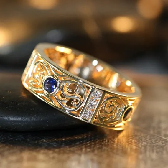 Celtic Wedding Ring 14k Yellow Gold Bezel Set Sapphire Diamond