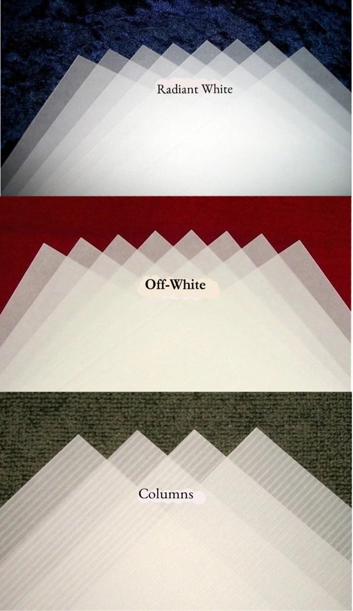 50 Custom Cut TRANSLUCENT VELLUM DIY Wedding Inserts Wraps, 5″ x 7″, 6″ x 6″ and more ...