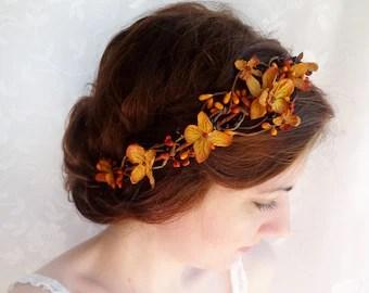 fall wedding hair accessories copper orange bridal headpiece autumn wedding flower crown