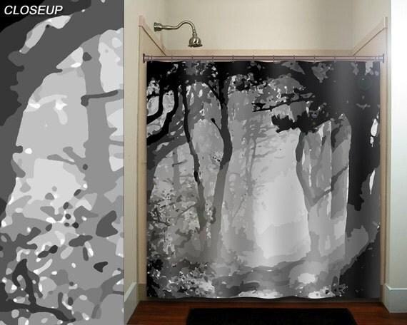 Misty Shades Of Gray Camo Forest Tree Shower Curtain Bathroom