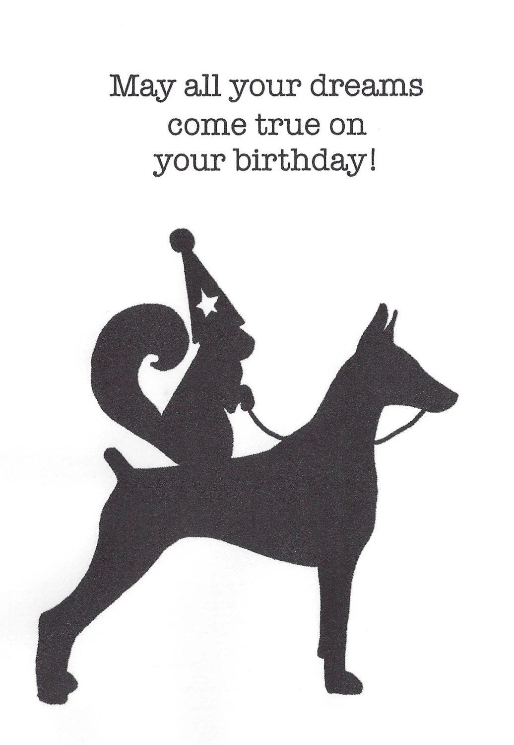 Squirrel Wearing A Party Hat While Riding A Doberman Pinscher