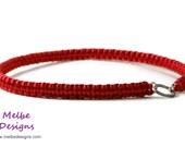 Dog Tag Collar - Cherry Red Satin - Greyhound, Galgo, Whippet, Italian Greyhound, Borzoi, Saluki, Sighthound - MelbeDesigns