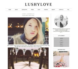 Premade Blogger Blog Template Lushy Love Simple Modern Black White Instant Download