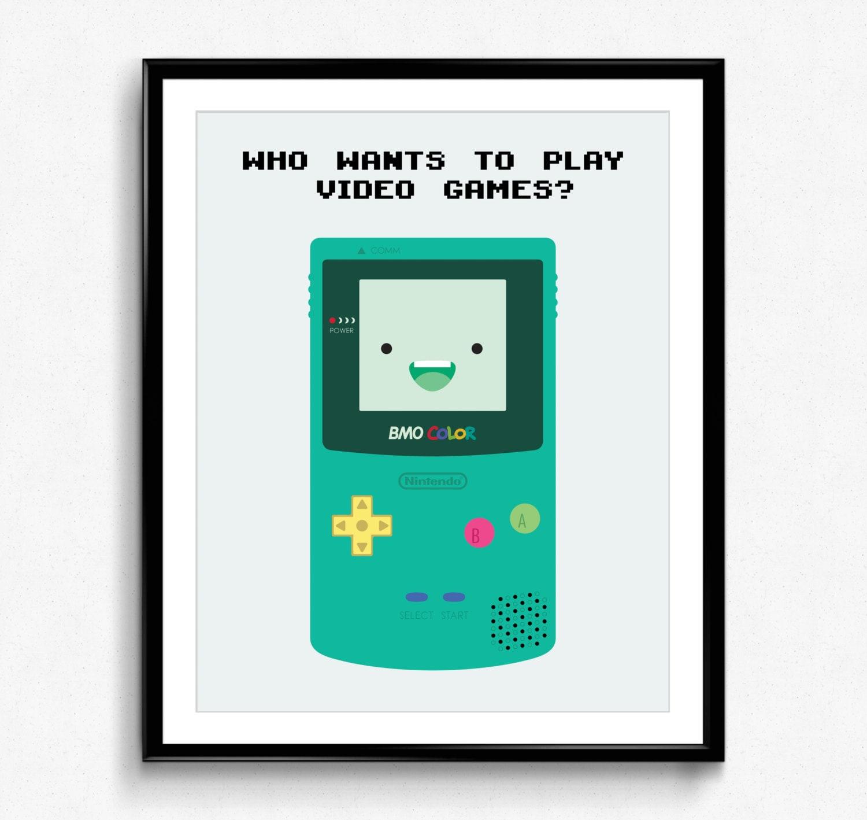 Adventure Time Bmo Color Poster Print Nintendo Gameboy