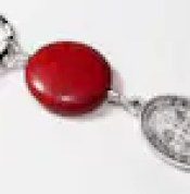 Gemstone keyring with an  EXORCISM St Benedict medal Protection from evil