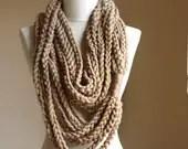 Beige crochet scarf Infinity chain scarf Oatmeal autumn fall fashion winter accessories - violasboutique