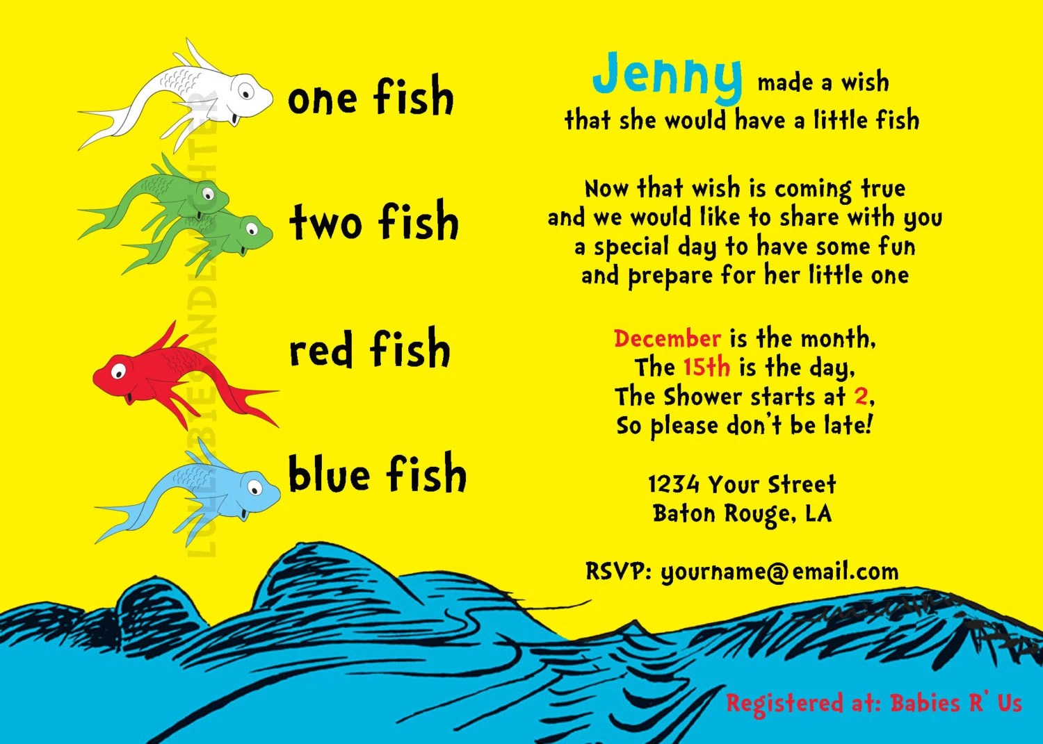 Custom Dr Seuss One Fish Two Fish Baby Shower Or Birthday