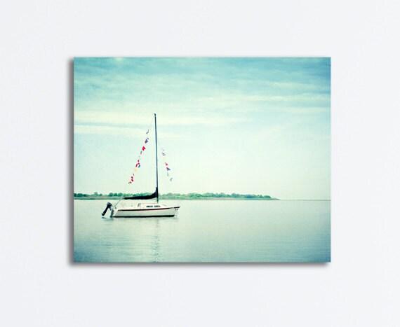 Sailboat Canvas Art Large Nautical Wall Art Light Blue