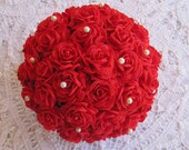 Centerpiece red with pearls - Party decoration - Paper wedding - Handmade flower - Wedding decorations - Paper ball - Kissing ball - TheChicFavor