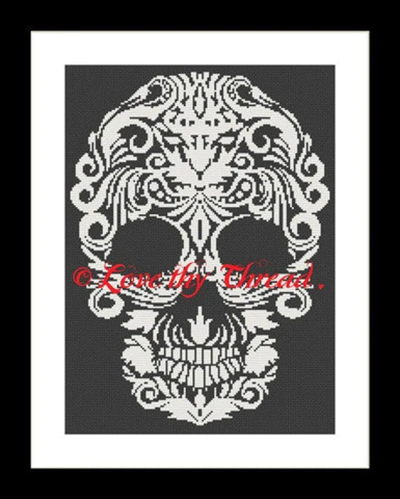Behold My Love Skull Cross Stitch Download pdf chart Halloween