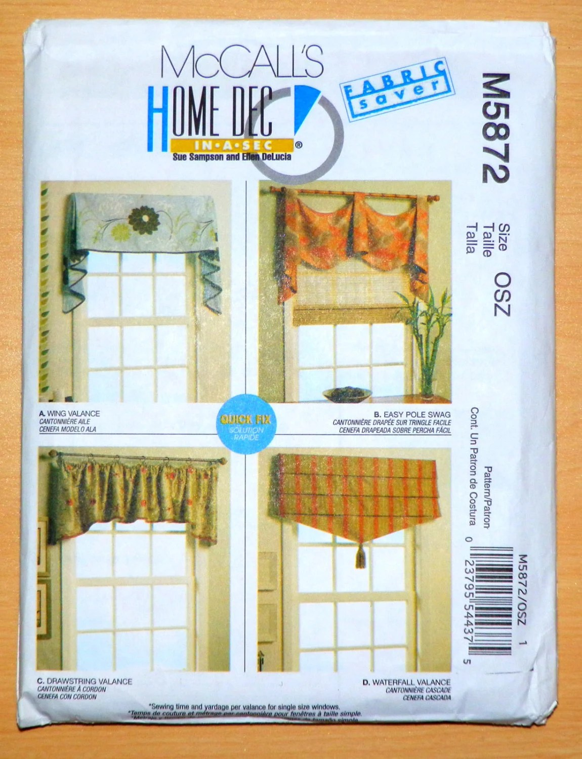 Mccalls Sewing Pattern Window Wing Valance Easy Pole