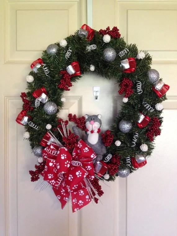 Christmas Wreath Winter Wreath Holiday Wreath Cat Wreath