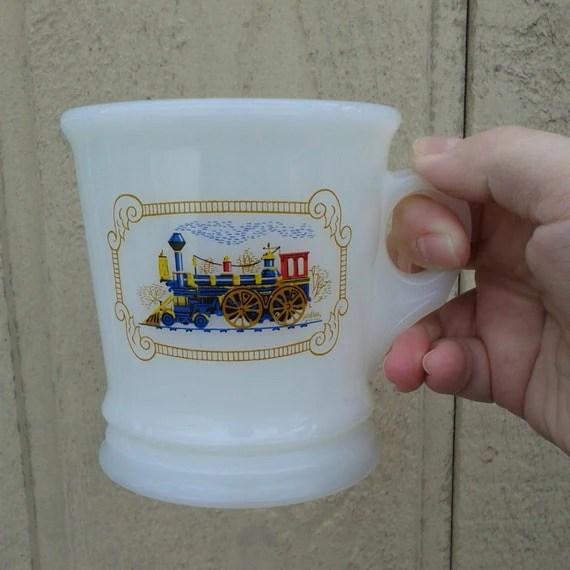 Avon Locomotive Milk Glass Shaving Mug