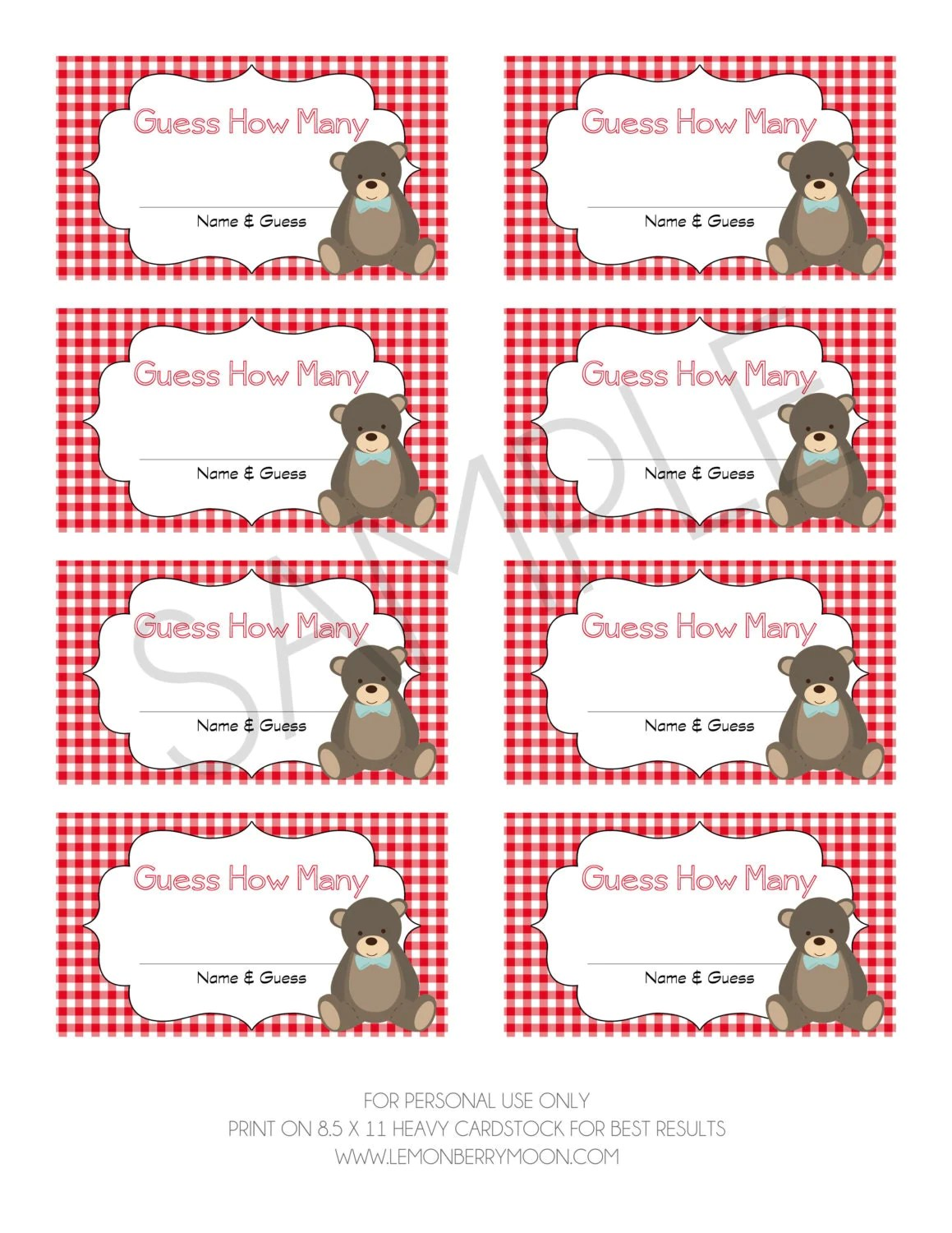 Teddy Bear Picnic Guess How Many Printable Baby By