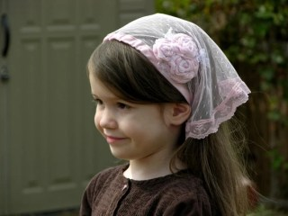 Little Girls Light Pink Veil with Tie-Backs and Swirled Rosette Cluster