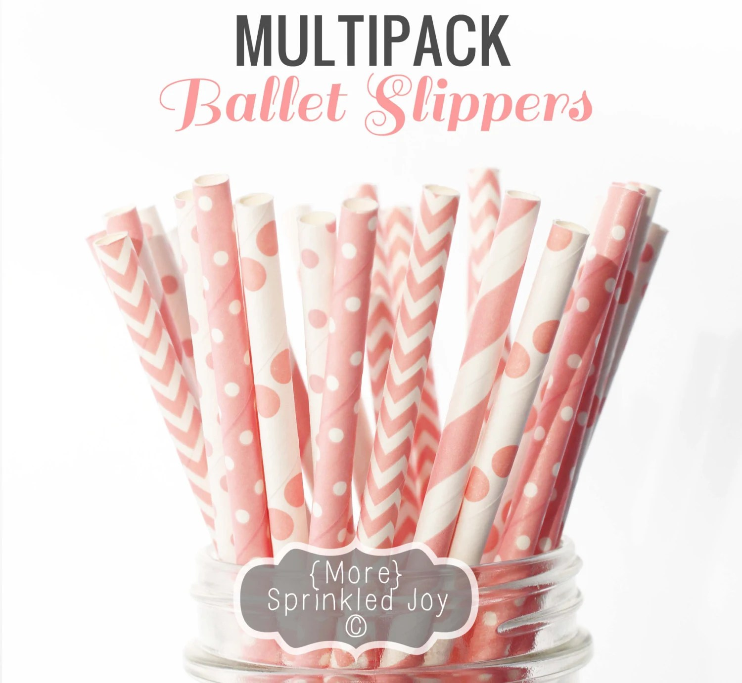 Light Pink Paper Straws, BALLET SLIPPERS Multipack, Baby Pink, Pale Pink Chevron, Dots, Vintage, 25 Straws, 5 Designs - MoreSprinkledJoy