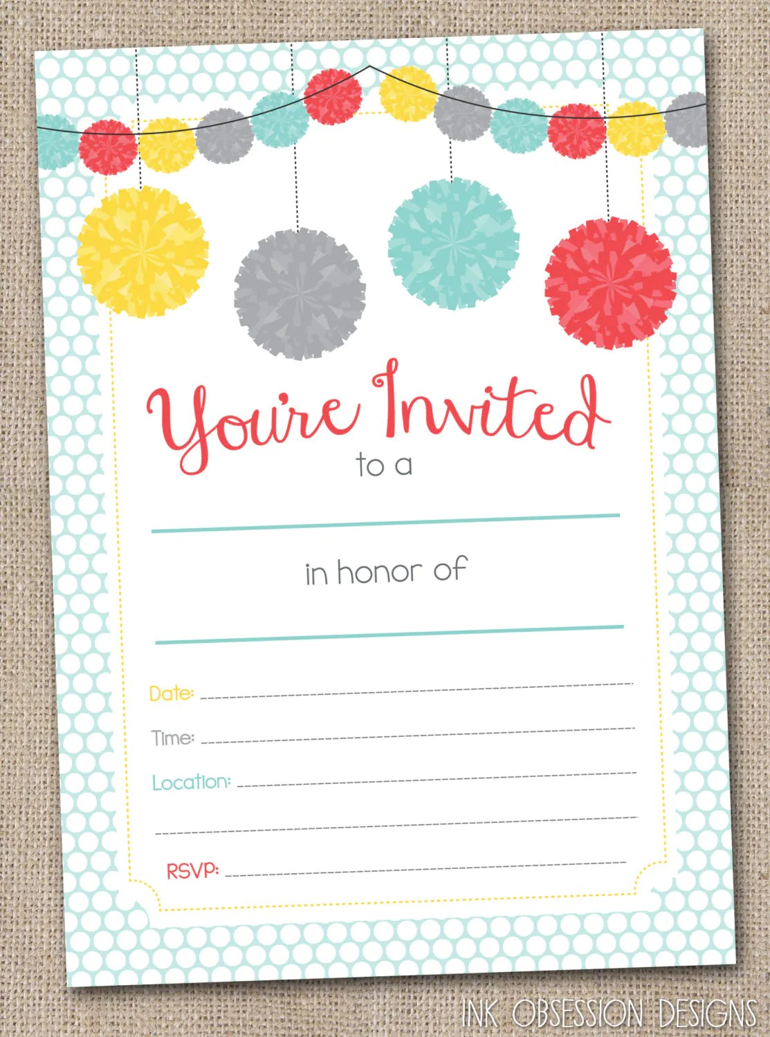 Fill In Printable Party Invitations Instant By