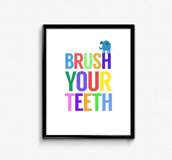 Printable kids bathroom art brush your teeth kids for Bathroom decor printables