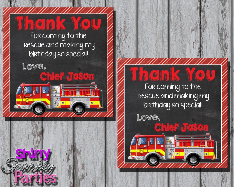 Firetruck Thank You Tag Firetruck Favor Tags Firefighter