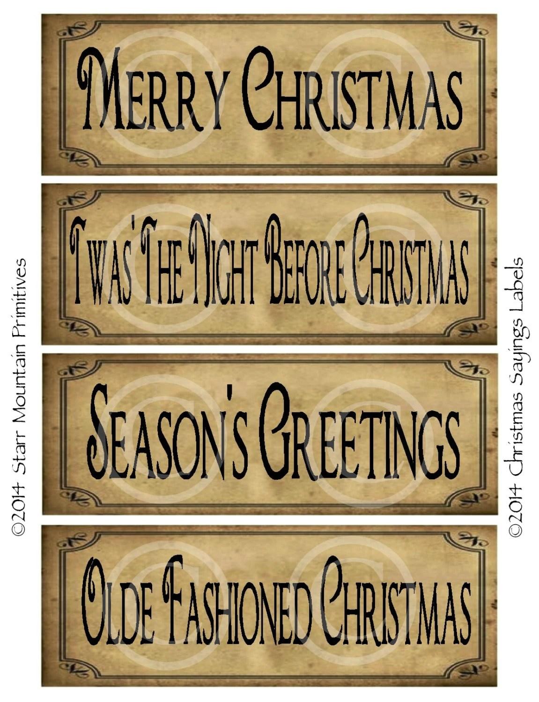 Primitive Prim Christmas Sayings Digital Pantry Labels