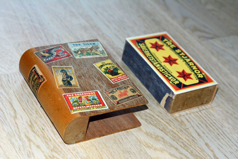 Vintage swedish wooden match box holder like book for Handmade kitchen decoration