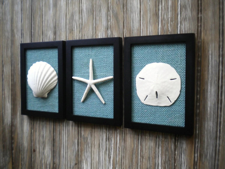 Cottage Chic Set Of Beach Wall Art Art Sea Shells Home