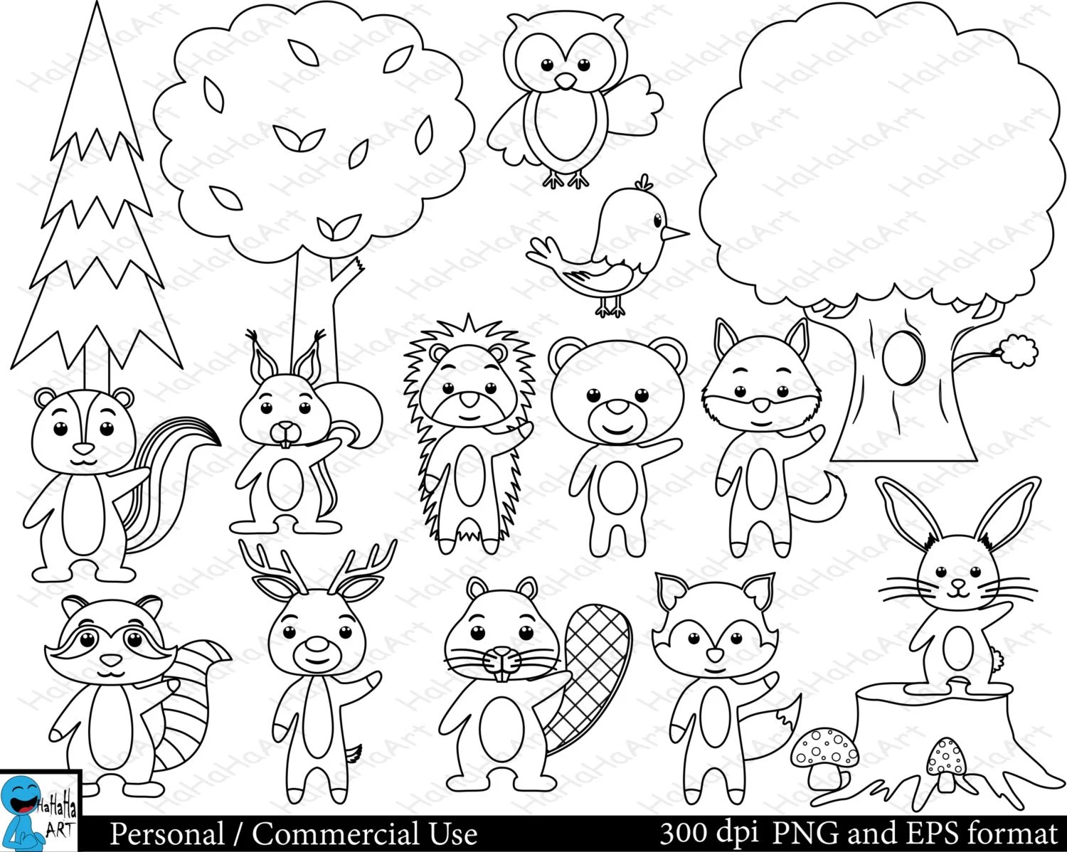 Outline Forest Animals