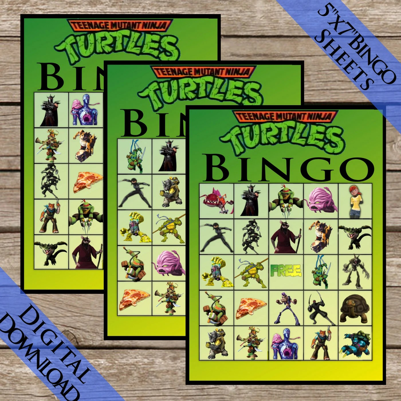 10 Ninja Turtles Bingo Cards Digital Download Extra