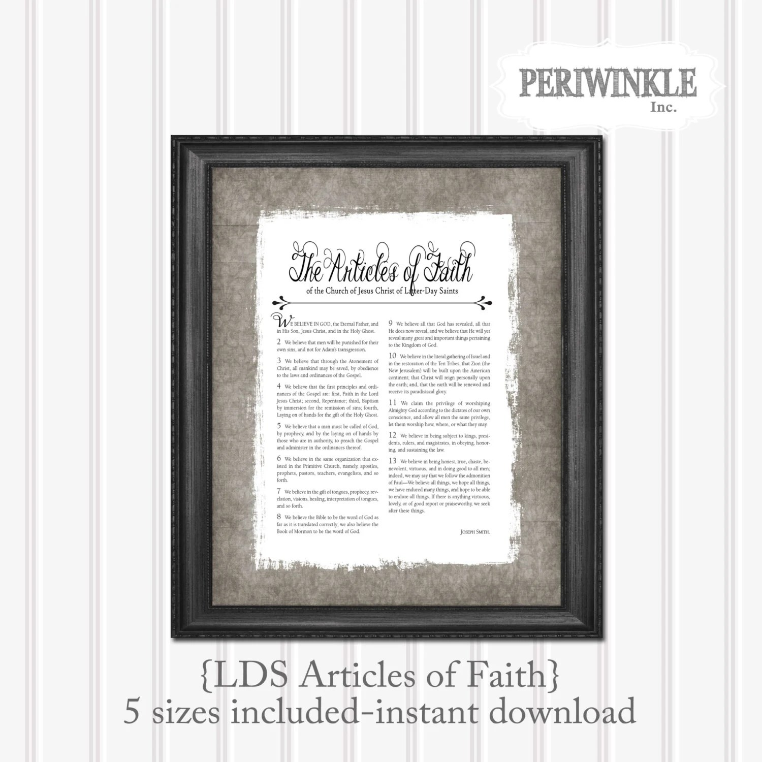 Lds Articles Of Faith Printable Instant Download 5 Sizes
